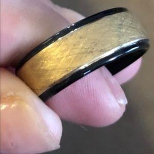 Men's Tungsten carbide black and gold wedding ring